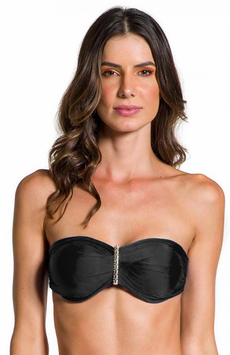 Black accessorized bandeau top - TOP SOL PRETO