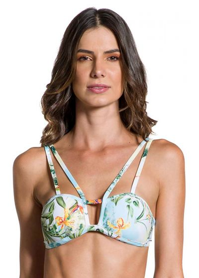 Floral bra bikini top with strappy details - TOP STRAPPY MANHÃ