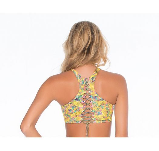 Yellow patterned racer-backlace-up crop top - SOUTIEN LIMA