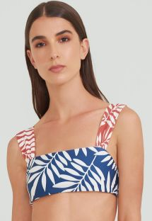 Blue and red foliage bra bikini top - TOP BAND TERRA JUNGLE