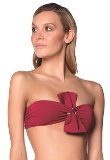 Dark red bandeau top with a big bow - TOP BOLD BASICS - UVT AMERICAN
