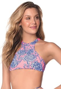 Pink and blue high neckline crop top with flowers - TOP CARNATION LUAU AMERICAN