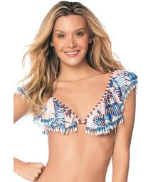 Bustier-Bikini-Top mit Volants, Perlendetails - TOP FRINGES NAVY GUACAS LATIN