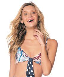 Bustier-Bikini-Top in Mustermix, Frontknoten - TOP HOT NAVY GUACAS LATIN