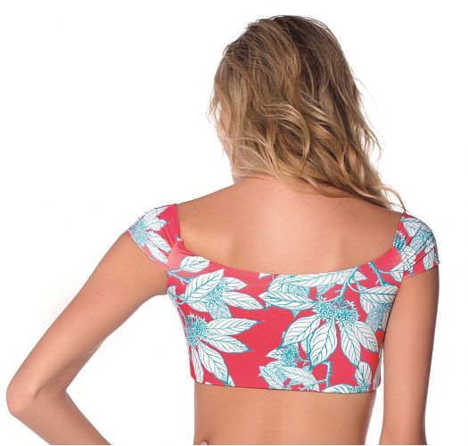 Red crop top in leave print - TOP HOT TURQUOISE GARDEN AMERICAN