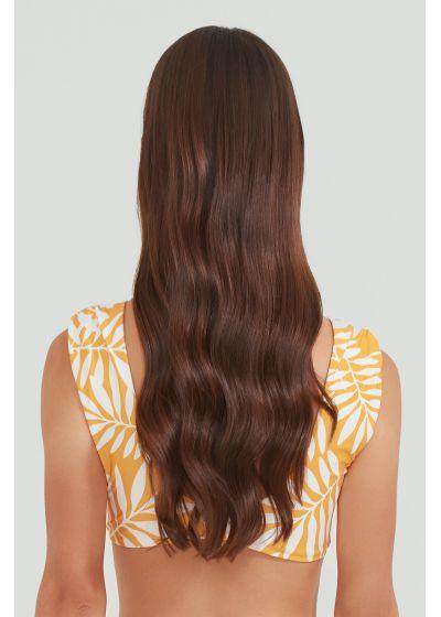 Yellow front-tied bra bikini top in foliage - TOP MANGO JUNGLE DOUBLE FACE