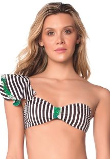 Asymmetric striped bandeau bikini top - TOP POLKA JUNGLE AMERICAN