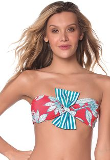 Red and blue leaves print crop top - TOP TURQUOISE GARDEN LATIN