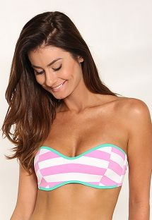 Bandeau bikini top with two-tone stripes and green edges - SOUTIEN FUNNY LISTRADO