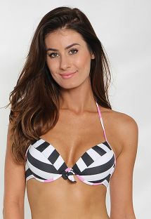 Corpiño de bikini push up a rayas bicolor - SOUTIEN FUNNY PUSH UP