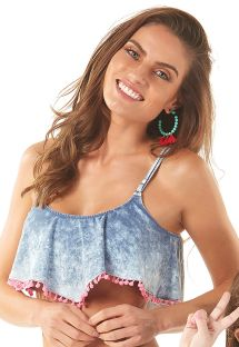 Washed denim effect and pink pompoms crop top - SOUTIEN BABADO POMPOM