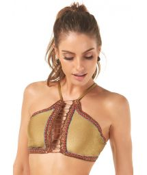 Gold crop top with contour embroidered braid - SOUTIEN HALTER BORDADO