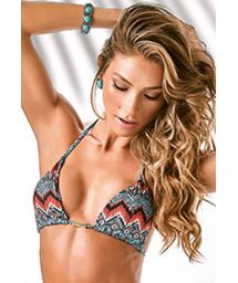 Ethnic print triangle bikini top with removable pads - SOUTIEN HYPE COOL