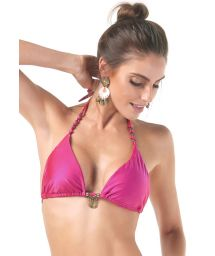 Pink triangle top with droplets and beads - SOUTIEN LONGO NOS