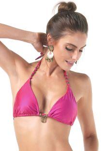 Top a triangolo rosa con goccioline e perline - SOUTIEN LONGO NOS