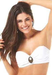 White bandeau top bikini with accessory - SOUTIEN METAL