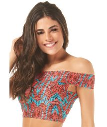 Off-the-shoulder two-tone swimsuit crop top - SOUTIEN NAOMI