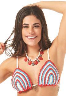 Colourful striped crochet triangle bikini top - SOUTIEN ODARA