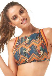 Kolorowy crop top do bikini w mieszany wzór - SOUTIEN RELICARIO