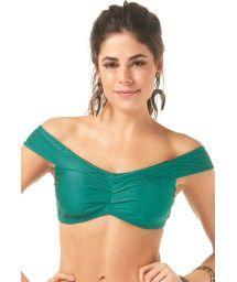 Green textured off-shoulder crop bikini top - SOUTIEN TROPICANA