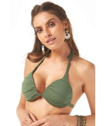 Padded and pleated khaki triangle top - TOP SUBTROPICAL