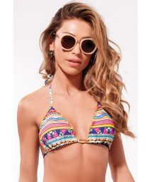 Colorful ethnic print bikini top with wavy edges - TOP X-FIT RIPPLE