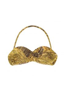 A gold-printed bandeau bikini top with a removable shoulder strap - SOUTIEN RELUZENTE TOMARA QUE CAIA