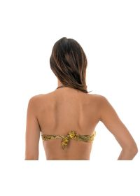 A gold-printed bandeau bikini top with a removable shoulder strap - SOUTIEN RELUZENTE TOMARA QUE CAIA