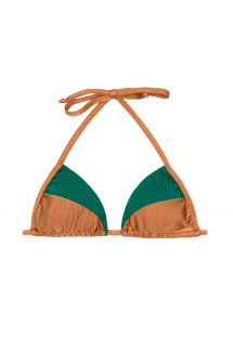 Dual fabric green/copper colour triangle top - SOUTIEN  COPPER GREEN