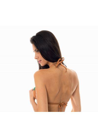 Grün/brauner Triangel-Bikini aus Bi-Material - SOUTIEN  COPPER GREEN