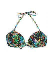 Black balconette bikini top featuring multicoloured flowers - SOUTIEN  REALITY FLOWER BALCONET
