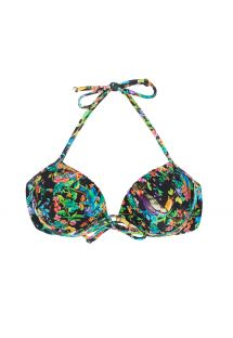Black balconette bikini top featuring multicoloured flowers - SOUTIEN  REALITY FLOWER BALCONET