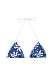Sutiã de biquíni triângulo azul/branco com flores - SOUTIEN AGUA VIVA