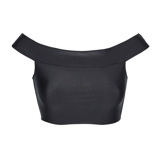 Crop top de bain noir col Bardot - SOUTIEN ALL BLACK