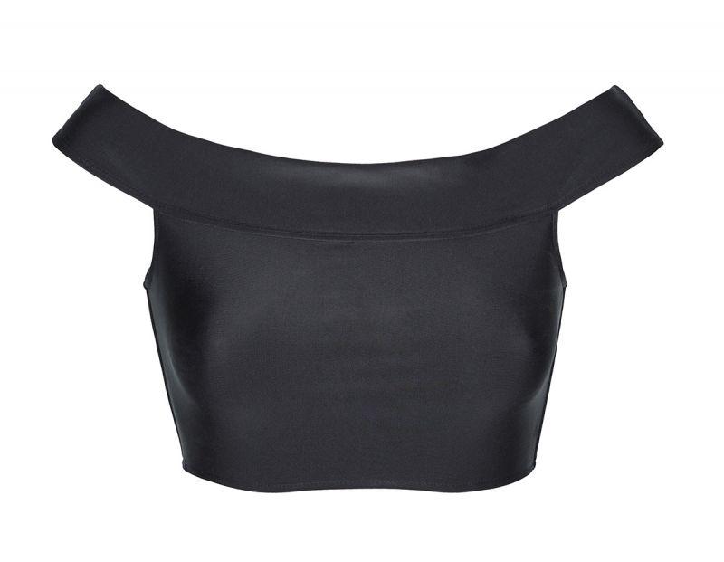 Black crop top Bardot neck bikini top - SOUTIEN ALL BLACK