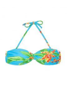 Góra od bikini typu bandeau niebieska w kwiaty, usztywnanie miseczki - SOUTIEN ALOHA BANDEAU FRANZIDA