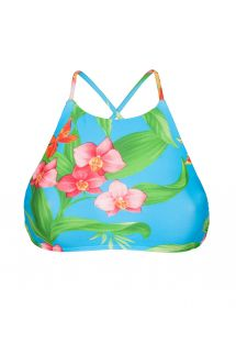 Crop top bikini with print and tropical flowers - SOUTIEN ALOHA CROPPED FAIXA