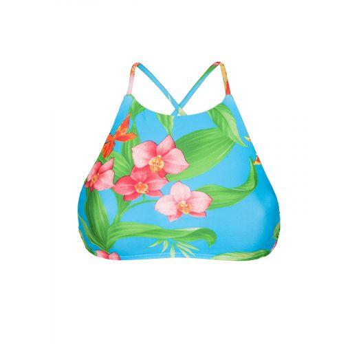 Crop top kąpielowy z nadrukiem tropikalnych kwiatów - SOUTIEN ALOHA CROPPED FAIXA