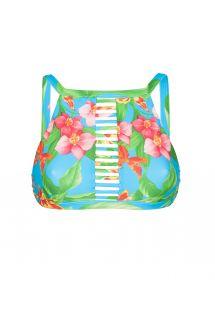 Crop top de bain strappy bleu à fleurs - SOUTIEN ALOHA CROPPED TIRAS