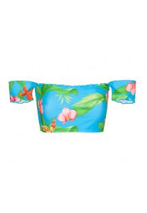 Bardot off-shoulder bandeau top with tropical flowers - SOUTIEN ALOHA OFFSHOULDER BASIC