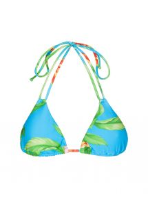 Blue floral triangle top with double straps - SOUTIEN ALOHA TRI CHEEKY