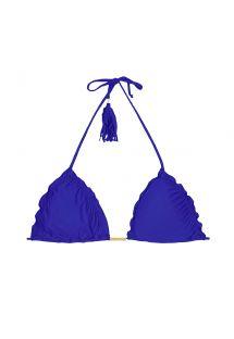 ביקיני חלק עליון משולש כחול עמוק, קצוות מסולסלים ועם פונפון - SOUTIEN AMBRA FRUFRU PLANETARIO