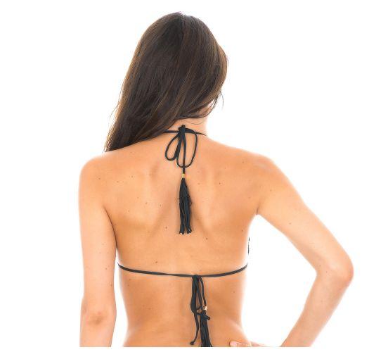 Sort trekant bikini-top med bølgede kanter og pompon - SOUTIEN AMBRA FRUFRU PRETO