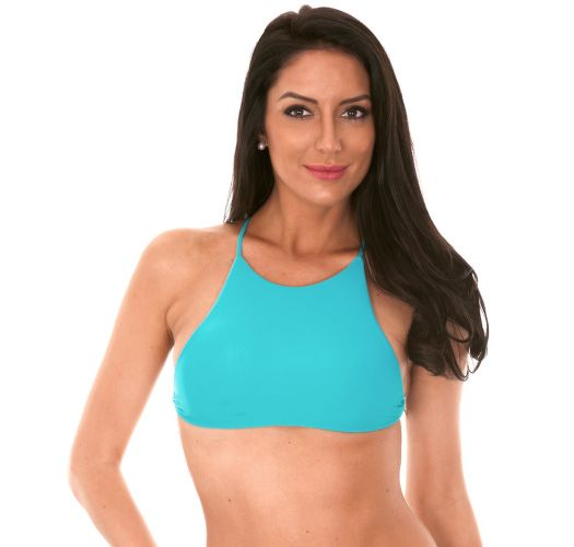 Blue, cross-back bikini cropped top - SOUTIEN AMBRA JUPE NANNAI