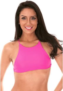 Pink, cross-back bikini crop top - SOUTIEN AMBRA JUPE ROSA CHOQUE