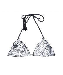 Black/white triangle bikini top with tassel - SOUTIEN BEACH POMPOM