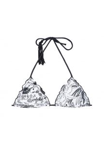 Czarno-biała góra stroju kąpielowego z trójkątnymi miseczkami z frędzlem - SOUTIEN BEACH POMPOM