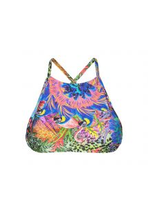 Tropical crop top with cross-over straps - SOUTIEN BIGUA AZUL