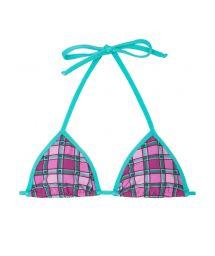 Triangle top with pink & green check pattern - SOUTIEN BIKINI XADREZ