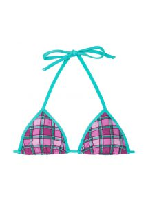Triangle top with pink & green check pattern - SOUTIEN BIKINI XADREZ